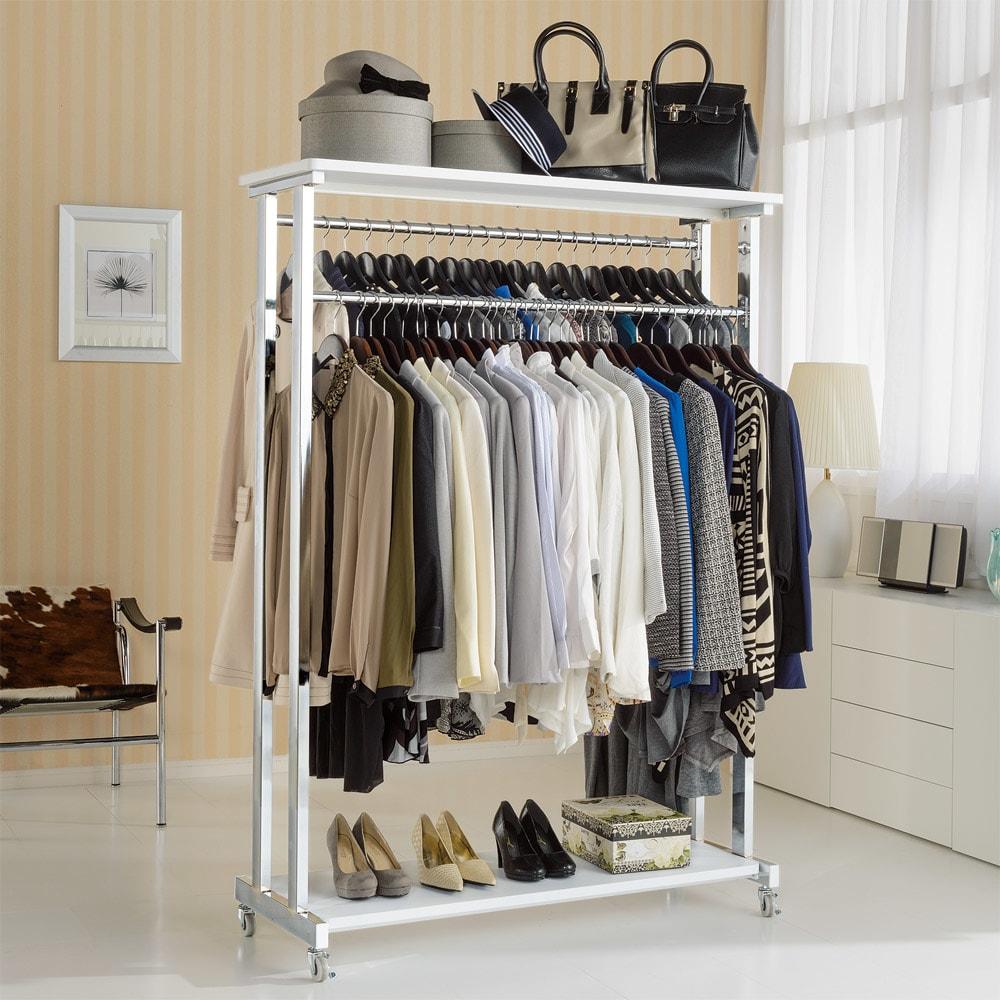 上下棚付き モダン頑丈ハンガーラック ダブル・幅120cm (イ)ホワイト 清潔感がうれしいホワイト色の頑丈ハンガー。部屋の置き場所を選ばないすっきりとしたデザインです。