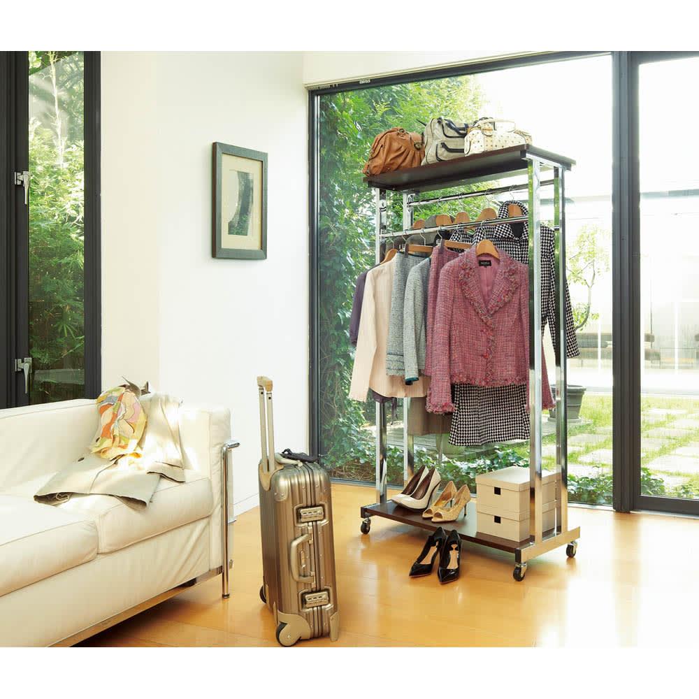 上下棚付き モダン頑丈ハンガーラック ダブル・幅120cm (ア)ダークブラウン  モダンなデザインのハンガーラックでお部屋をコーディネートしませんか?※写真は幅90cmダブルタイプです。