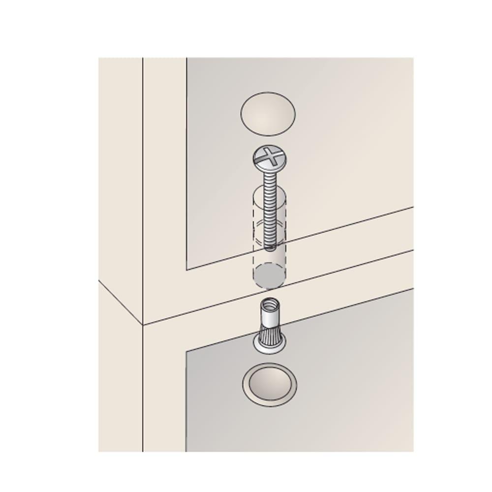 壁面間仕切りワードローブ ハンガーラック2段・幅60cm 上置と本体はジョイントネジで連結。