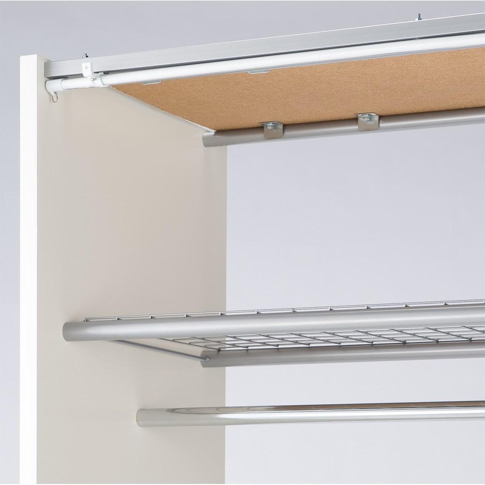 カーテン取り替え自在ハンガーラック 棚付きタイプ・幅128~205cm 上棚は季節の衣類や収納ボックスを入れるのに便利です。