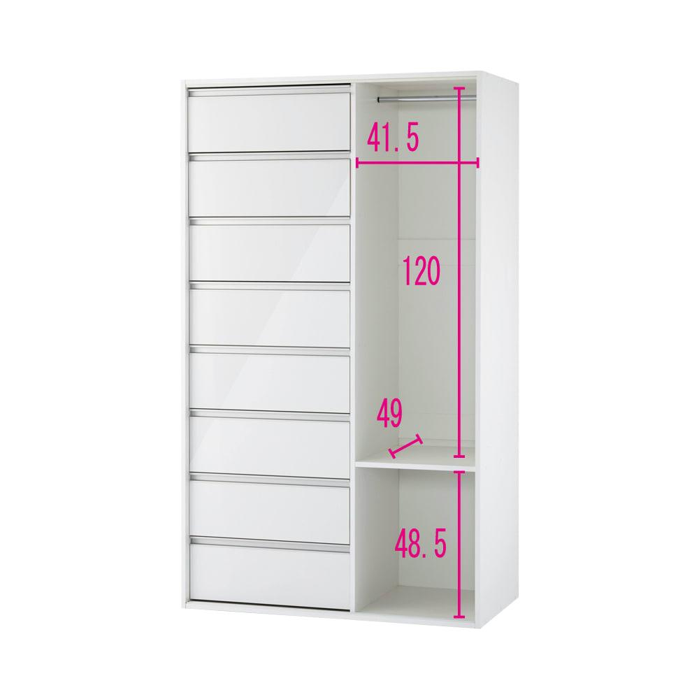 衣類をまとめて収納できる光沢仕上げタワーチェストクローゼットハンガー 幅105cm 【幅105cm】(ア)ホワイト ※赤文字は内寸(単位:cm) 扉取り外し時