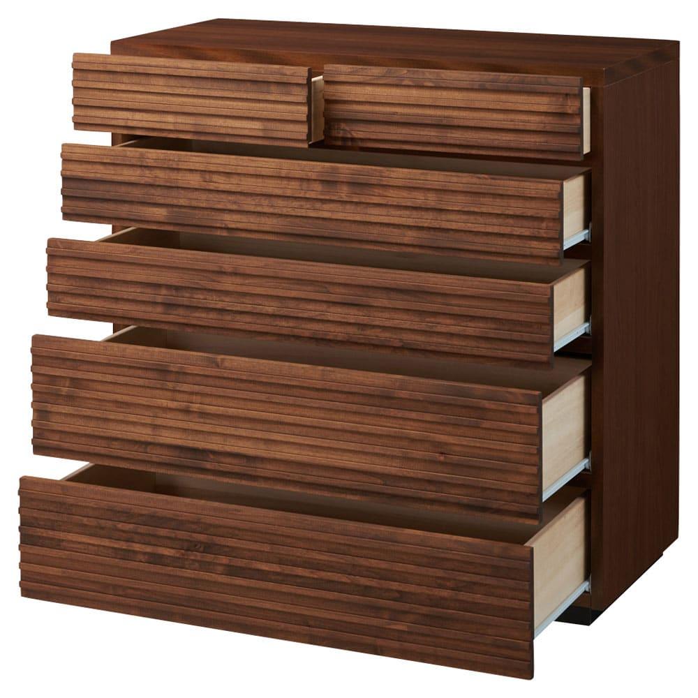 天然木横格子柄のローチェスト 幅90cm・5段 引き出しを開けた状態