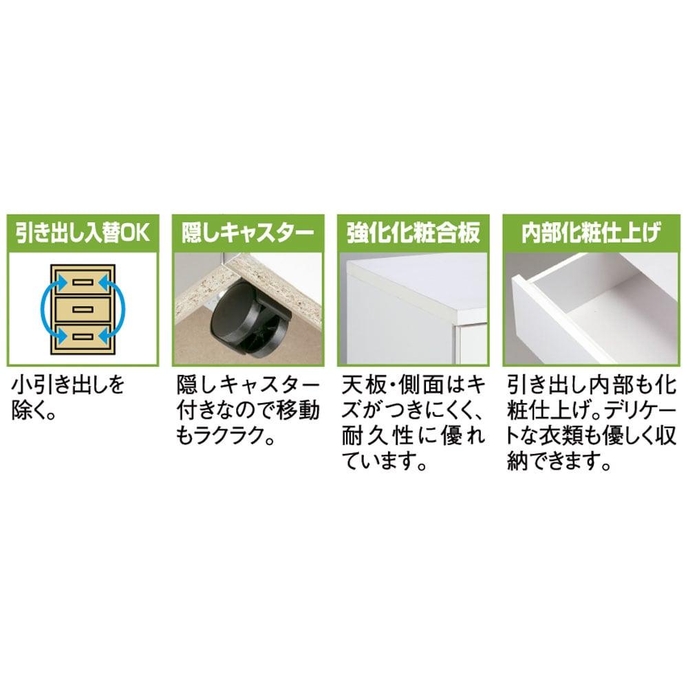 【日本製】奥行50cm隠しキャスター付きクローゼットチェスト 幅80cm・5段 機能説明
