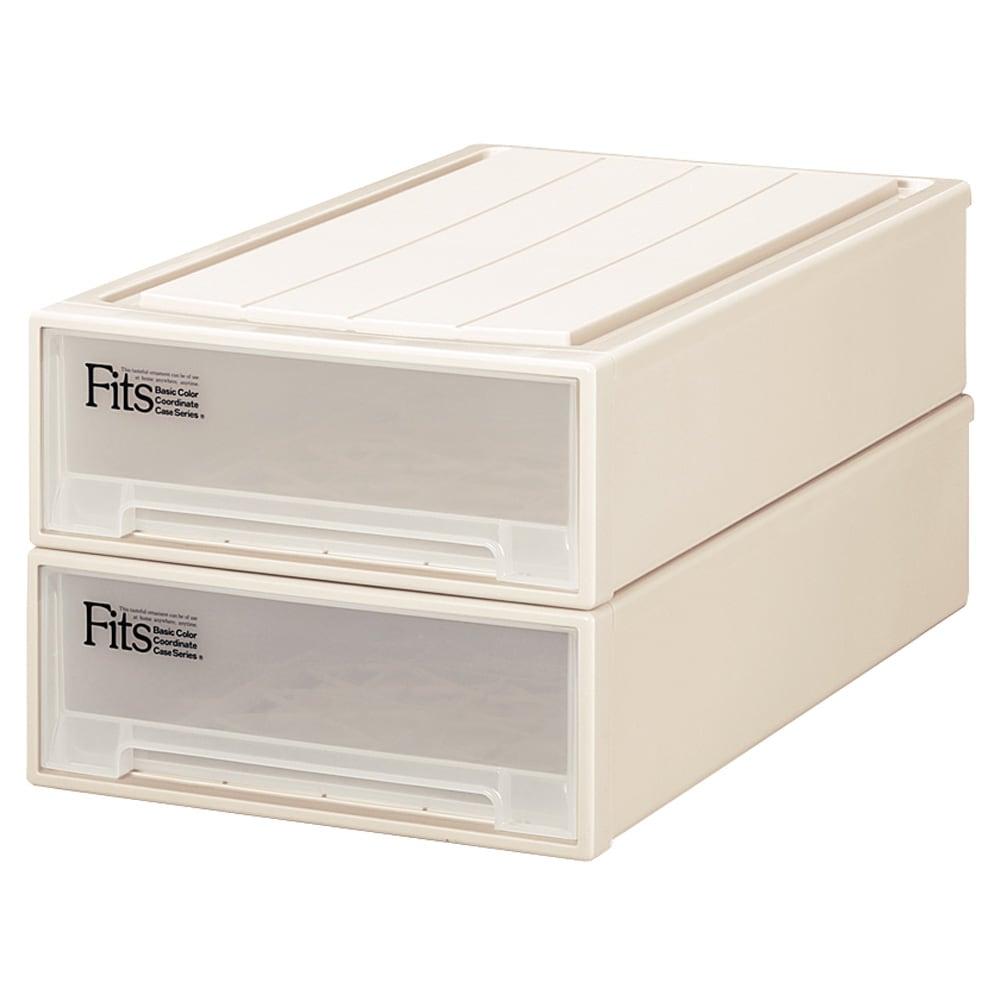 Fits フィッツ収納ケース 押し入れタイプ 奥行74cm 幅44cm 高さ18cm 2個組 (ア)カプチーノ(アイボリー系) 同色2個組でお届けします。