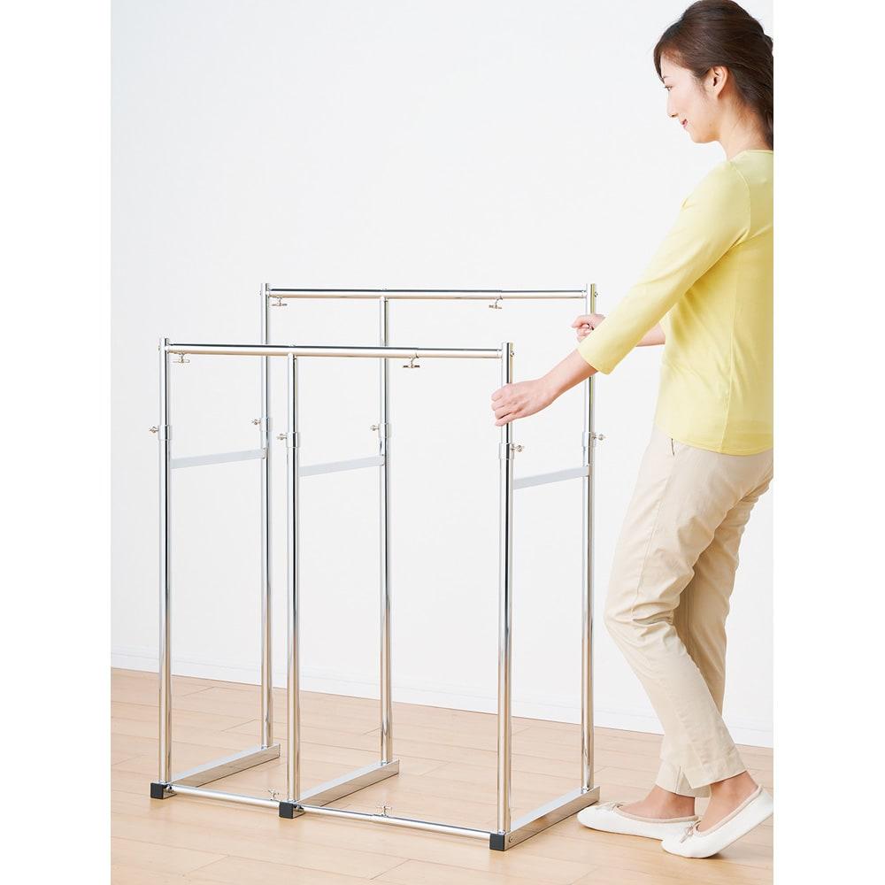 幅と高さが伸縮する 頑丈押し入れハンガー 半間用 幅60~100cm 幅も高さもつまみひとつで簡単に調節できます。