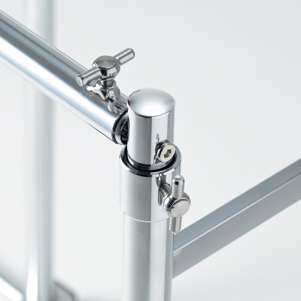 幅と高さが変えられる 伸縮式頑丈押し入れハンガー 一間用 幅110~180cm ツマミをゆるめてスライドさせるだけでお好みの高さ、幅に調節できます。
