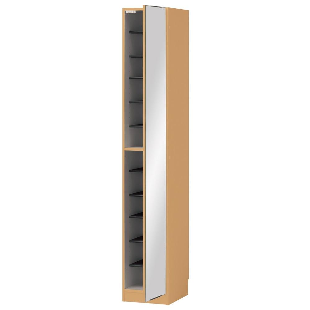 インテリアに合わせて8色&13タイプから選べるシューズボックス ミラー扉(右開き) 幅30高さ180.5cm (エ)ナチュラルオーク木目