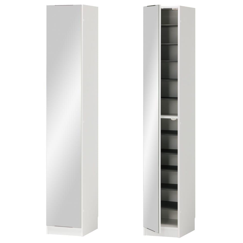 インテリアに合わせて8色&13タイプから選べるシューズボックス ミラー扉(左開き) 幅30高さ180.5cm (ア)ホワイト