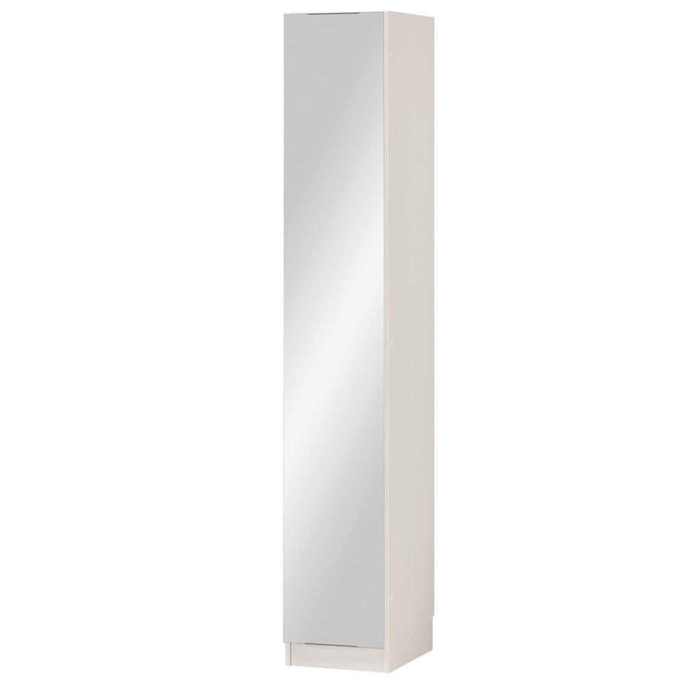 インテリアに合わせて8色&13タイプから選べるシューズボックス ミラー扉(左開き) 幅30高さ180.5cm (イ)ホワイトシカモア木目