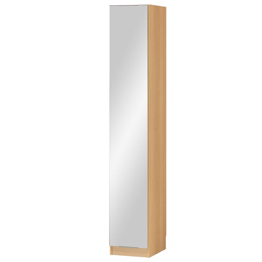 インテリアに合わせて8色&13タイプから選べるシューズボックス ミラー扉(左開き) 幅30高さ180.5cm (エ)ナチュラルオーク木目