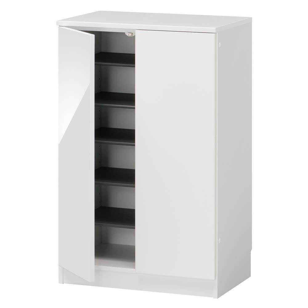 インテリアに合わせて8色&13タイプから選べるシューズボックス 幅60高さ95.5cm (ア)ホワイト 収納約18足