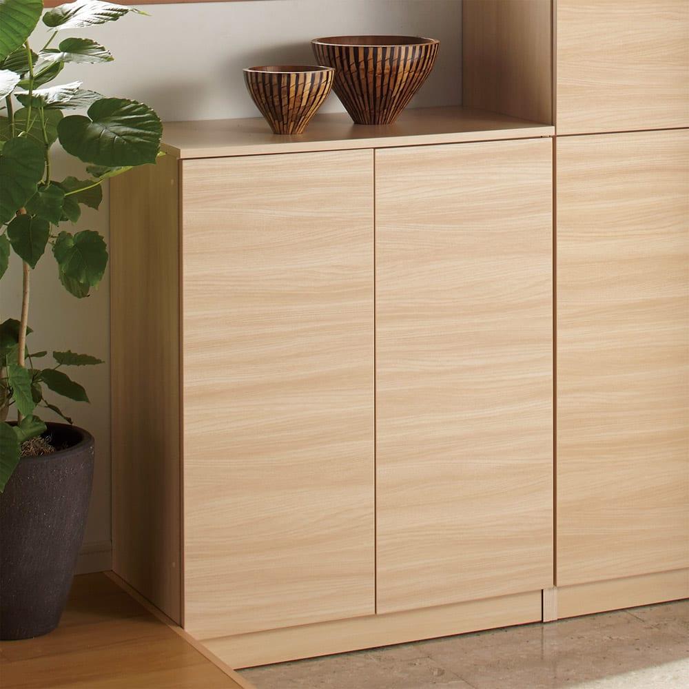 インテリアに合わせて8色&13タイプから選べるシューズボックス 幅75高さ95.5cm (ウ)ライトアッシュ木目