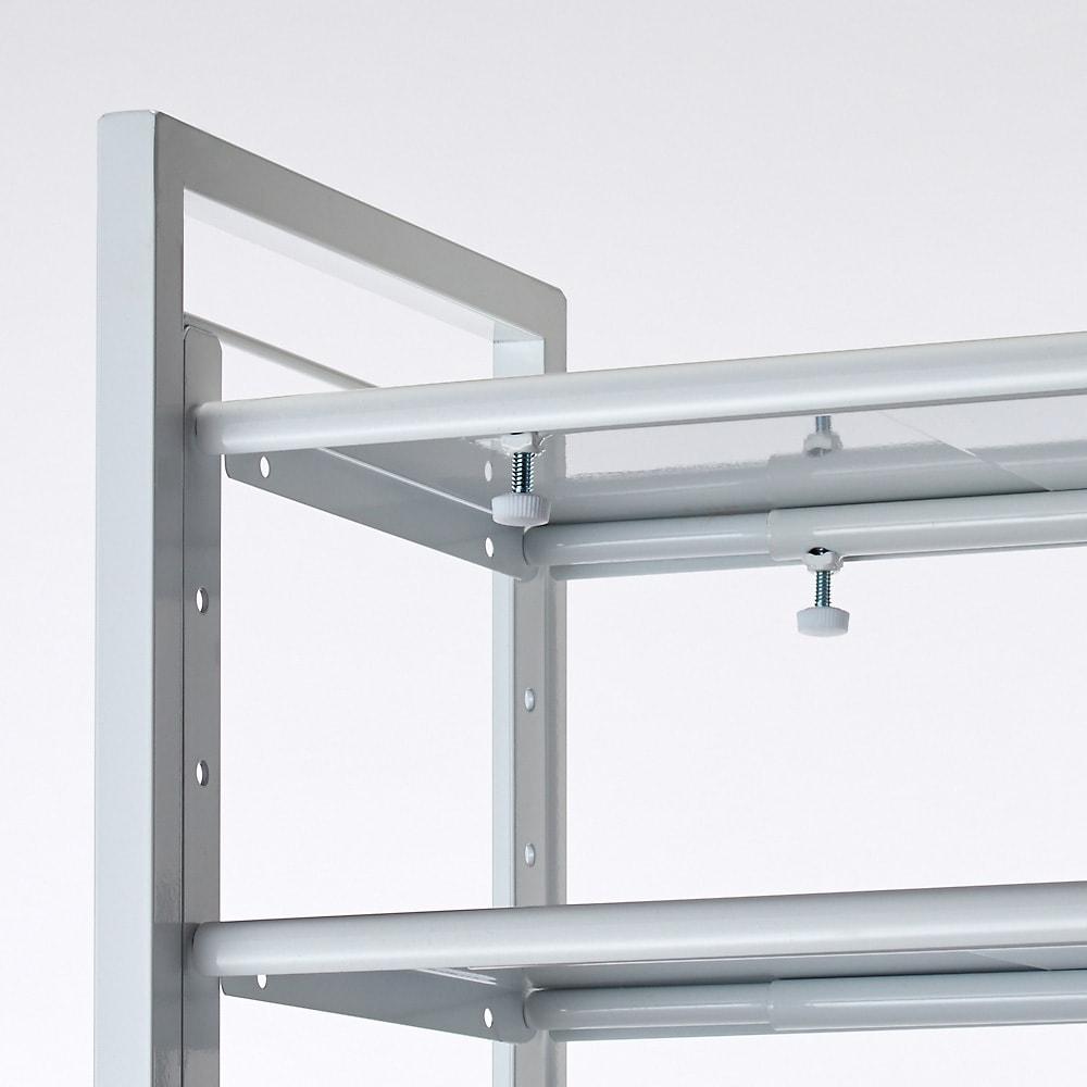 玄関の段差対応伸縮シューズラック 突っ張り式 11段ワイド つまみで簡単に伸縮できます。