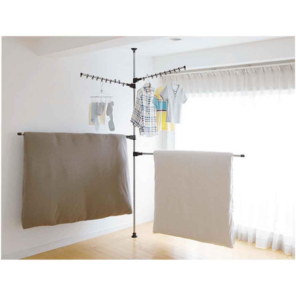 「どこでもポール」ワンタッチつっぱり物干し アーム2本+布団干し2本(室内用) (イ)ブラウン 布団もかけられる伸縮アーム付き。83~140cm。高さ168~280cmの天井に対応します。