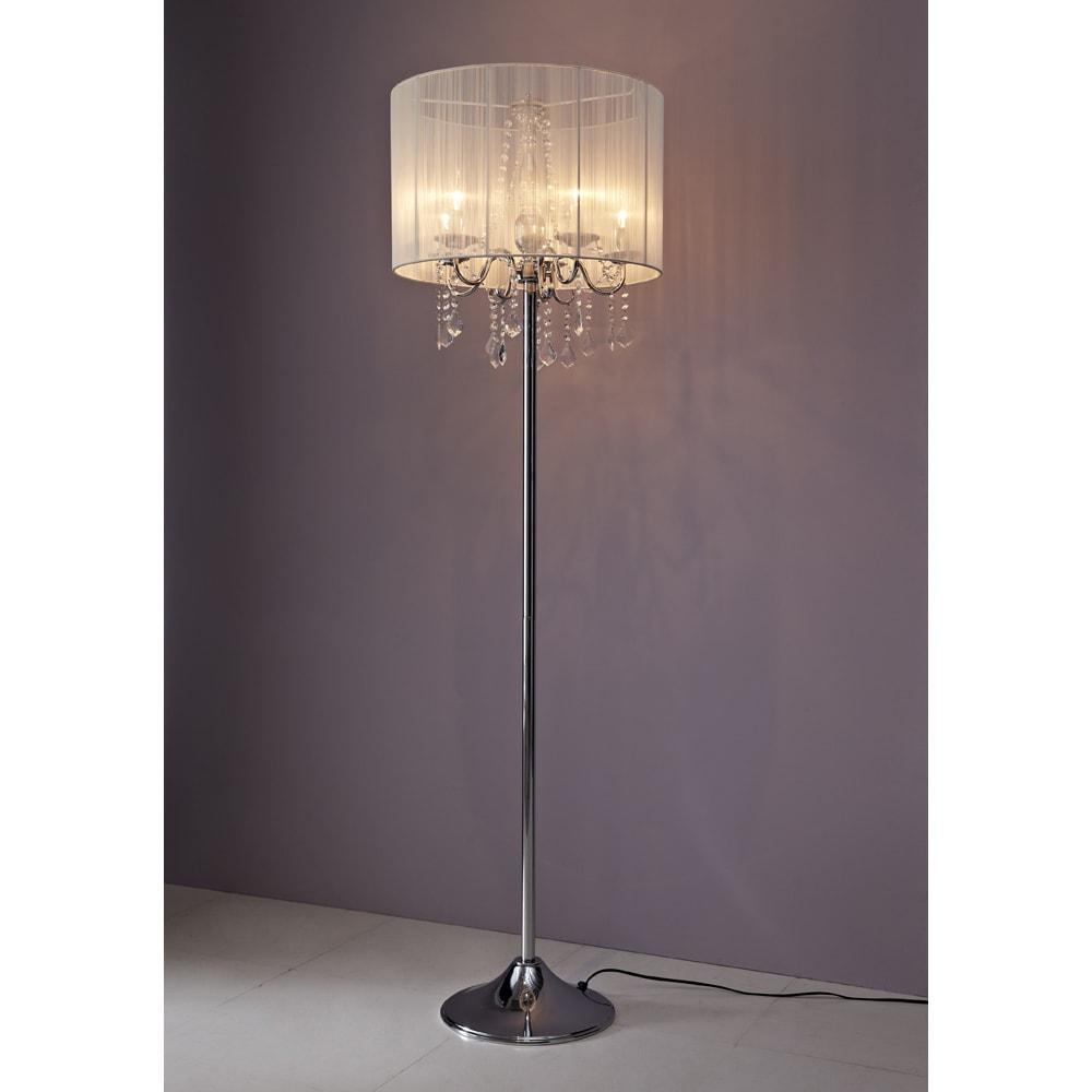 シャンデリア調フロアスタンドライト5灯 (ア)クリーム ガラスのシャンデリア部分がとってもゴージャス。