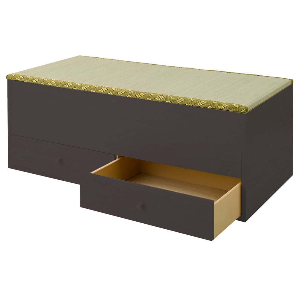 ユニット畳シリーズ 1畳引出し付き 高さ31cm (ア)ダークブラウン※写真は高さ45cmタイプになります。高さ45cmと31cmの仕様の違いは高さのみになります。