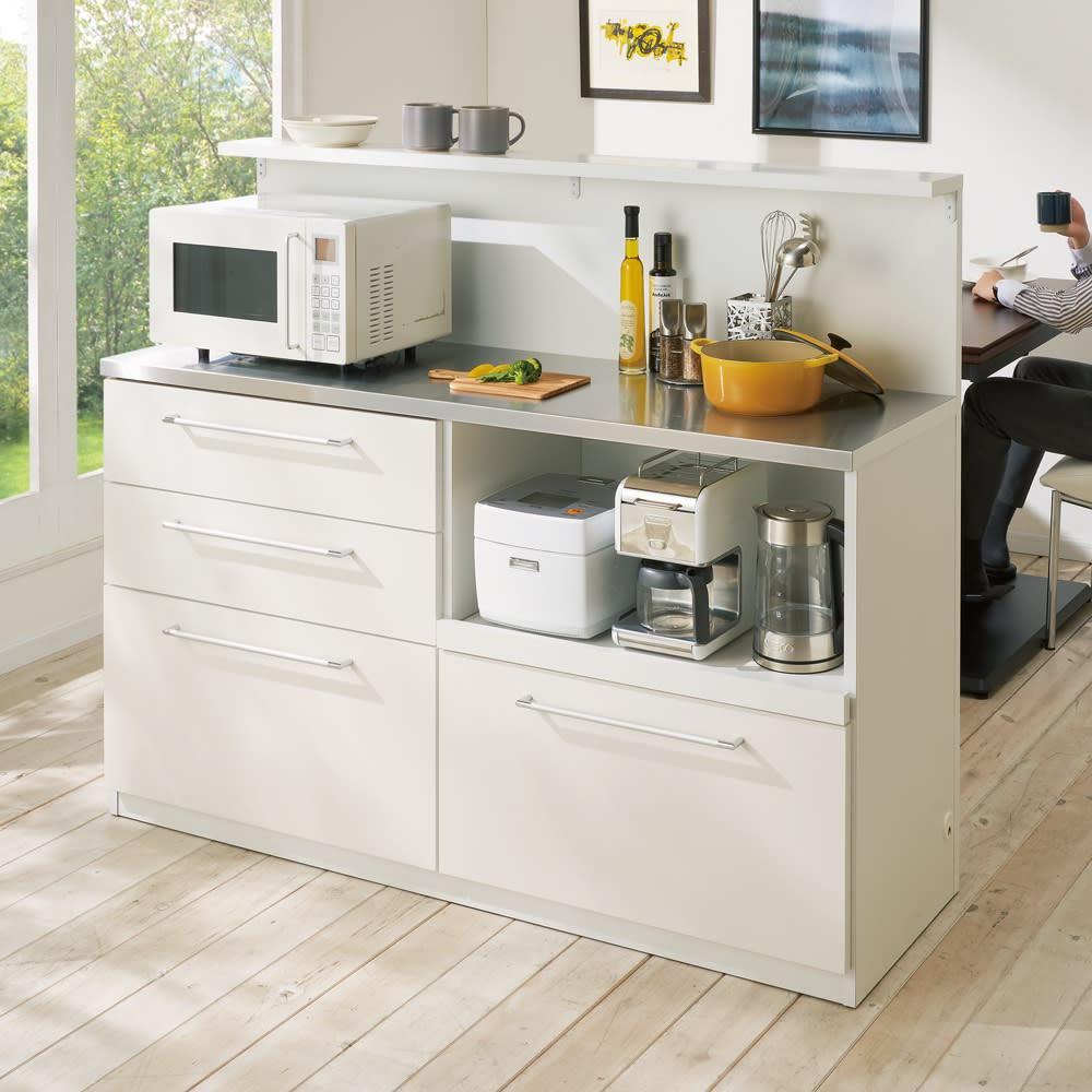 手元が隠せる間仕切りカウンター 幅150cm (ア)ホワイト 間仕切りカウンターとして大活躍!キッチンの生活感をすっきり隠せます。