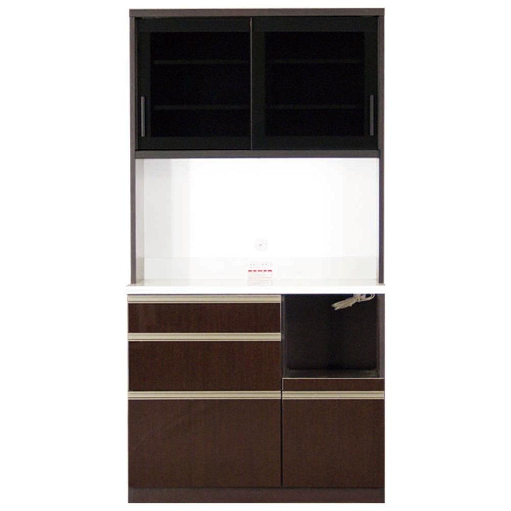 家具 収納 キッチン収納 食器棚 レンジ台 レンジラック キッチンラック 高機能 モダンシックキッチン キッチンボード 幅100奥行45高さ193cm 508513