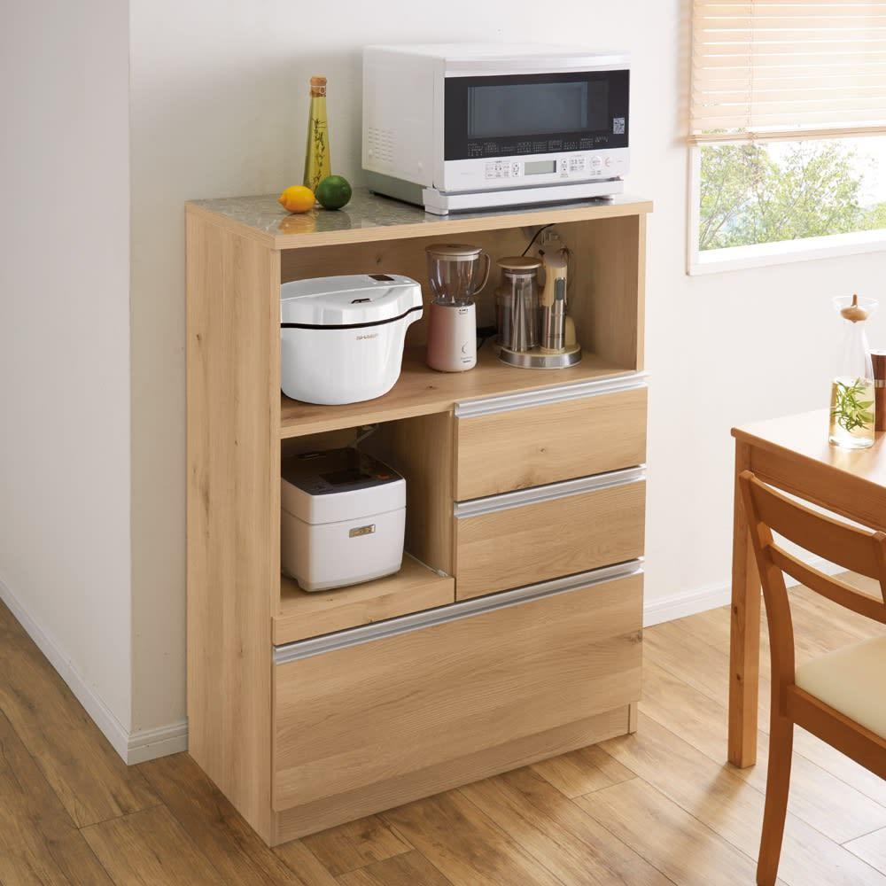 時短が叶う家電活用ハイカウンター 幅90cm (ア)ナチュラルオーク 限られたスペースにも置け、高さを活かしてたくさん収納できます。