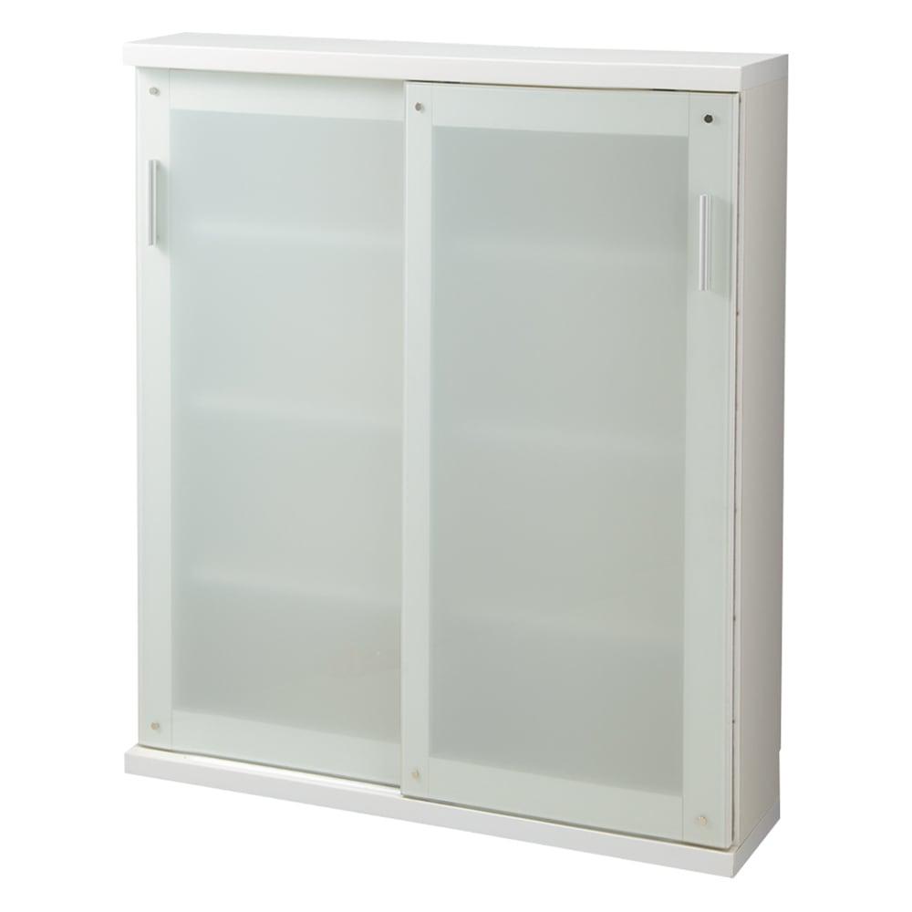 収納物の見やすい ガラス戸カウンター下収納庫 引き戸・幅90奥行22高さ100cm