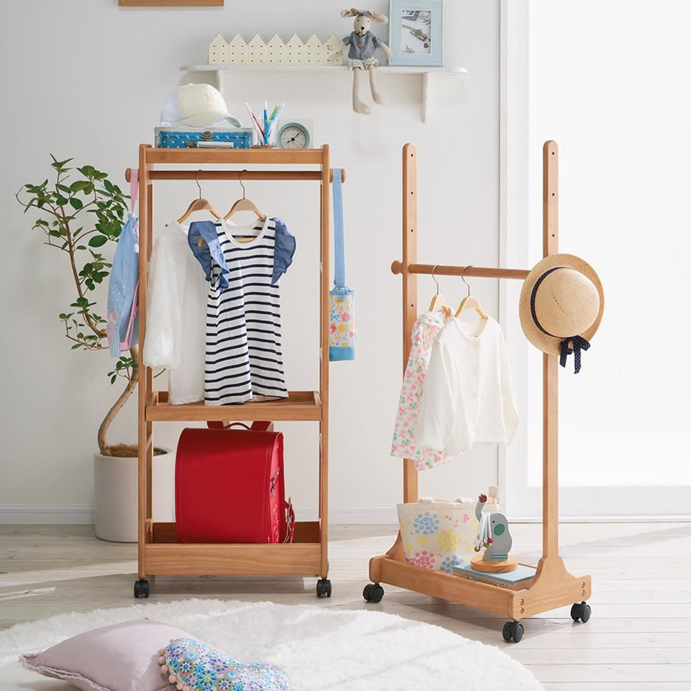 家具 収納 子供部屋 ベビー用品 天然木キッズハンガー シェルフ 510427