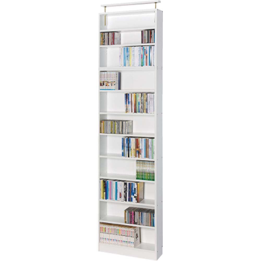 天井突っ張り式壁面ラック オープンタイプ上置き付き 幅90奥行20本体高さ235cm (ア)ホワイト色見本 ※写真は幅60cmタイプです。お届けは幅90cmとなります。