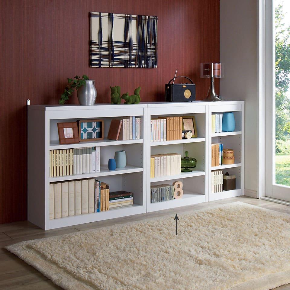 頑丈棚板がっちり書棚(頑丈本棚) ロータイプ 幅60cm (ウ)ホワイト ≪組合せ例≫ ※お届けは幅60高さ80cmです。