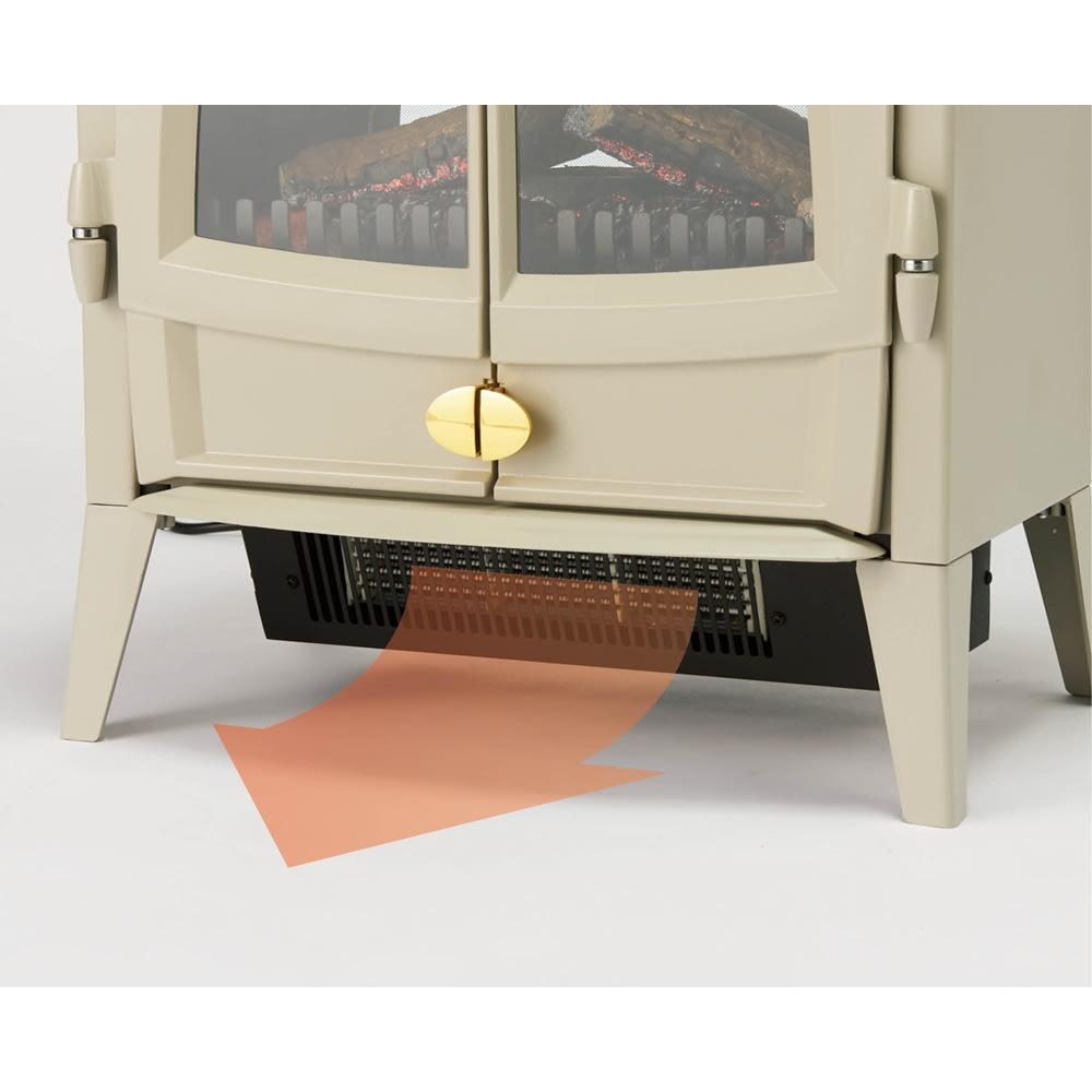 ディンプレックス 暖炉型ファンヒーター タイニーストーブ 足元をすぐに暖めるファンヒーターを搭載。 ※画像はジャズ2 (ウ)ペブルグレー ファンヒーターの位置は同じです。
