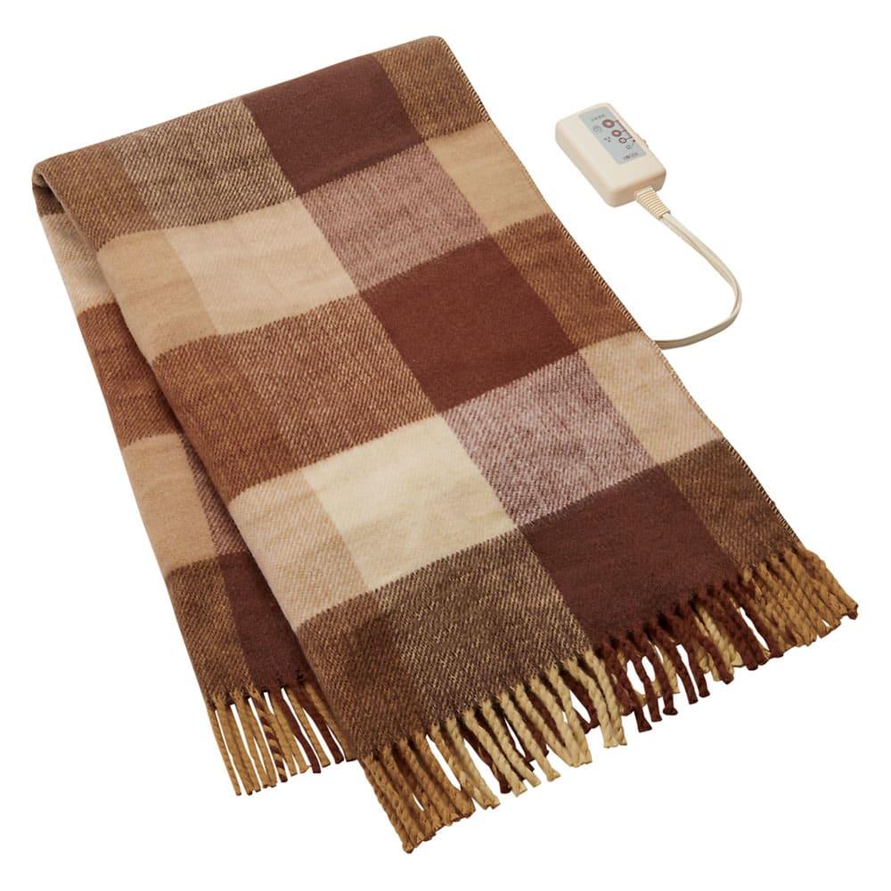 洗えるカラフルチェック電気ブランケット(電気毛布) 82×140cm (イ)ブラウンチェック