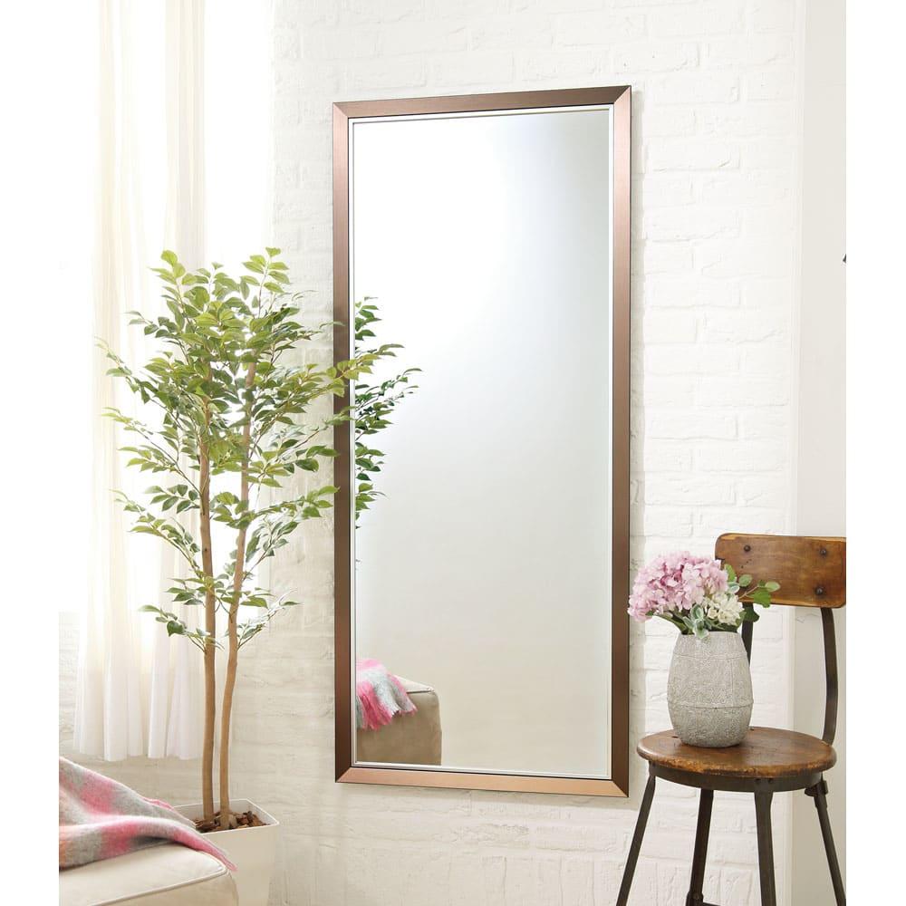 割れない軽量フィルムミラー[額装風 樹脂フレーム] 大きな鏡も壁掛けOK!