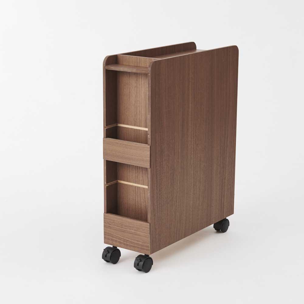 ダイニング下収納ワゴン ブラウン・背面部。浅い収納スペースを2か所設けました。たまりがちなDM、新聞・雑誌などを収納することも可能。