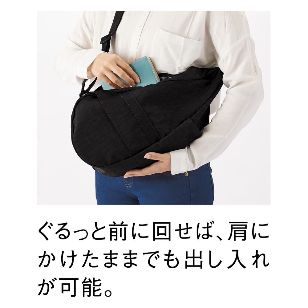 ヘルシーバックバッグ テクスチャードナイロン Sサイズ (オ)ブラック コーディネート例