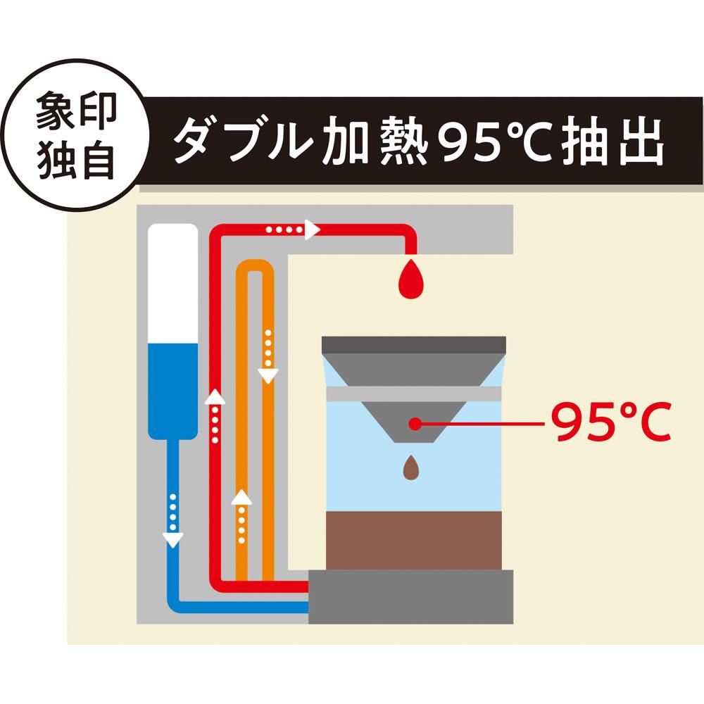 象印 STAN. /スタン コーヒーメーカー 一般のシングル加熱では90℃ほどのお湯で淹れるところ、象印独自のダブル加熱機能で、豆本来の味わいを抽出できます。