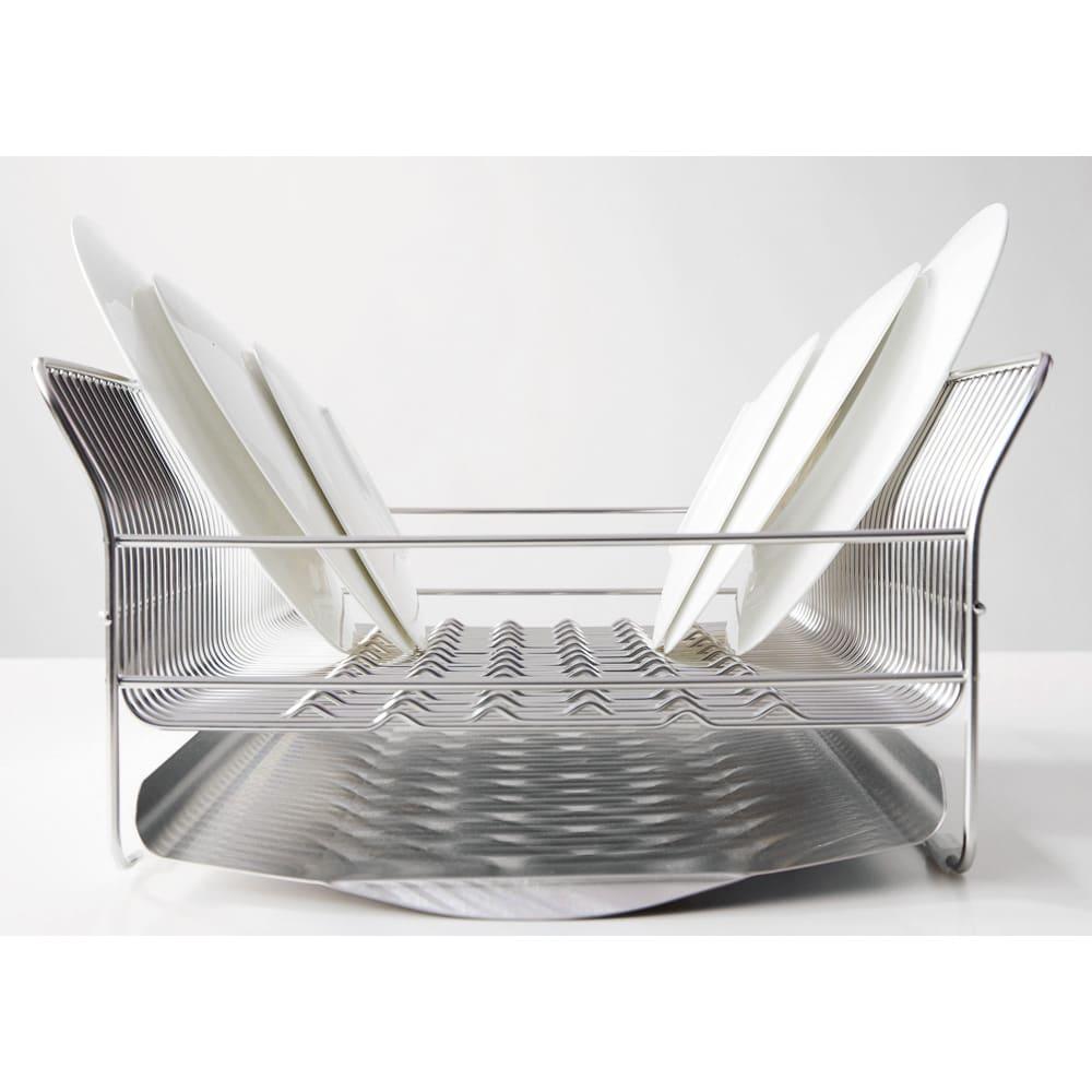 hanauta ハナウタ 皿を縦にも横にも置ける水切り ロングタイプ 羽根を広げたような側面のカーブが大皿もしっかり受け止めます。