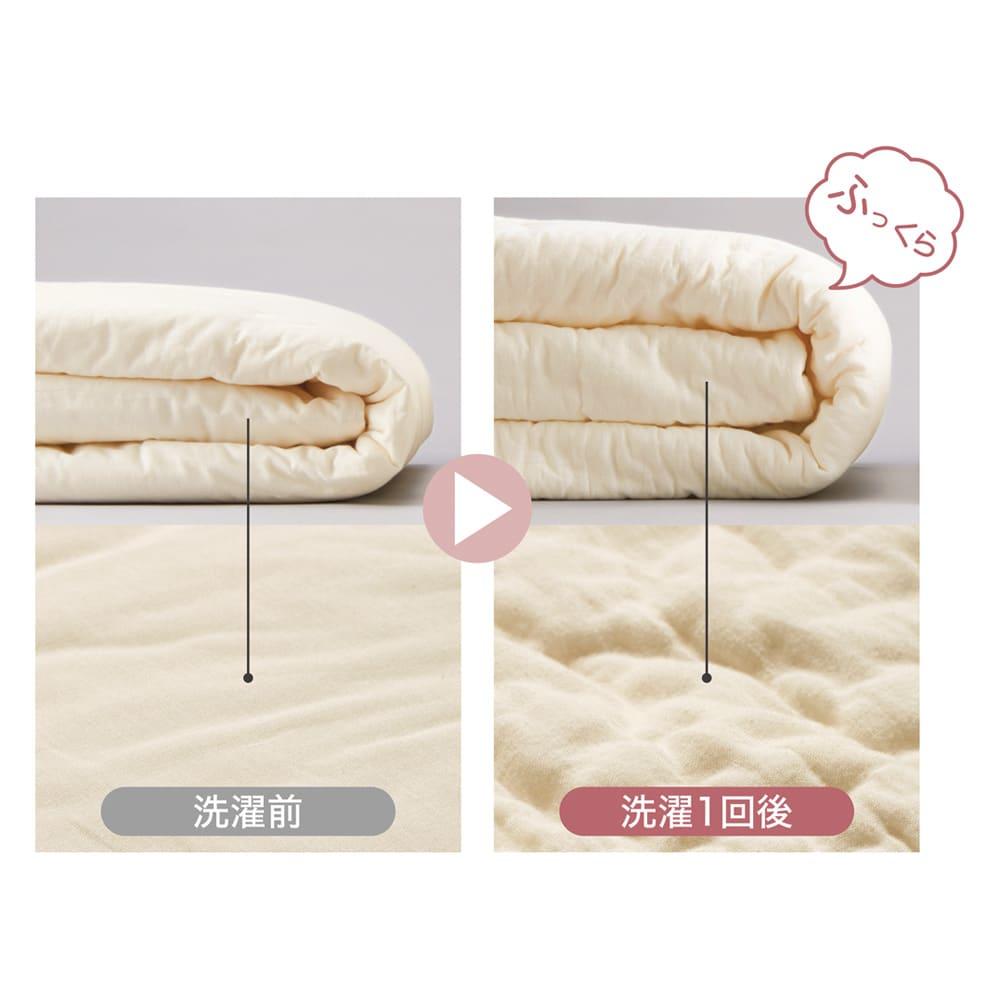 パシーマ(R)でつくったお布団(衿カバ-付き) 洗うほどに繊維がほぐれてふわふわ度アップ! 洗うほど、使い込むほどにやわらかく心地よくなります。