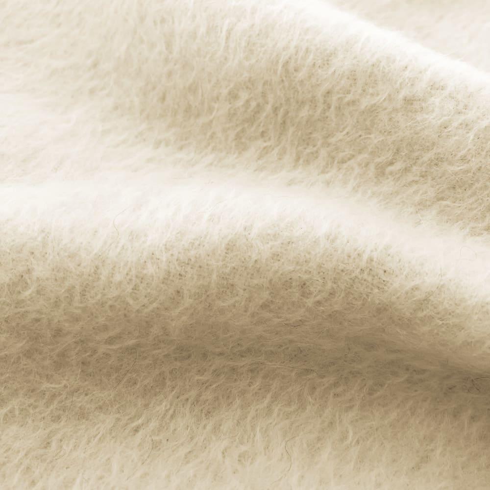 洗える無染色カシミヤ毛布(毛羽部)  ホワイトカシミヤ使用お得な掛け敷きセット 【生地アップ】ホワイトカシミヤ面