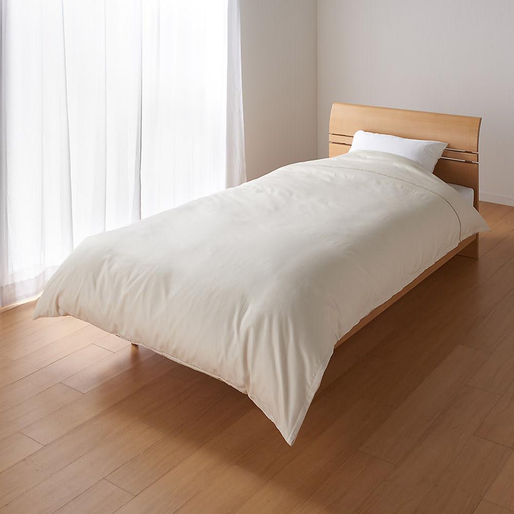 羽毛布団の軽さとふくらみを引き立てる やわらか超長綿の掛けカバー 使用イメージ(イ)ベージュ ※お届けは掛けカバーです。