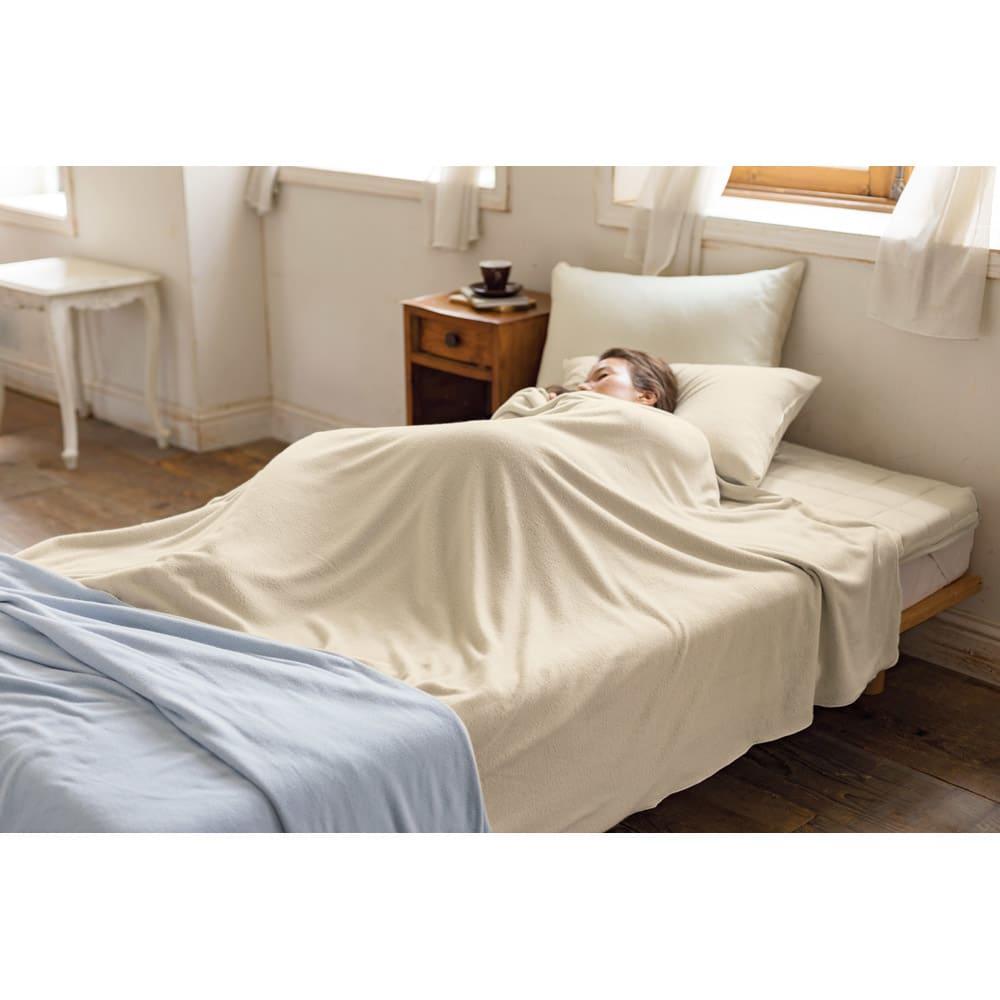発熱するコットン「デオモイス」寝具シリーズ フランネルニットの敷きパッド (ウ)ベージュ