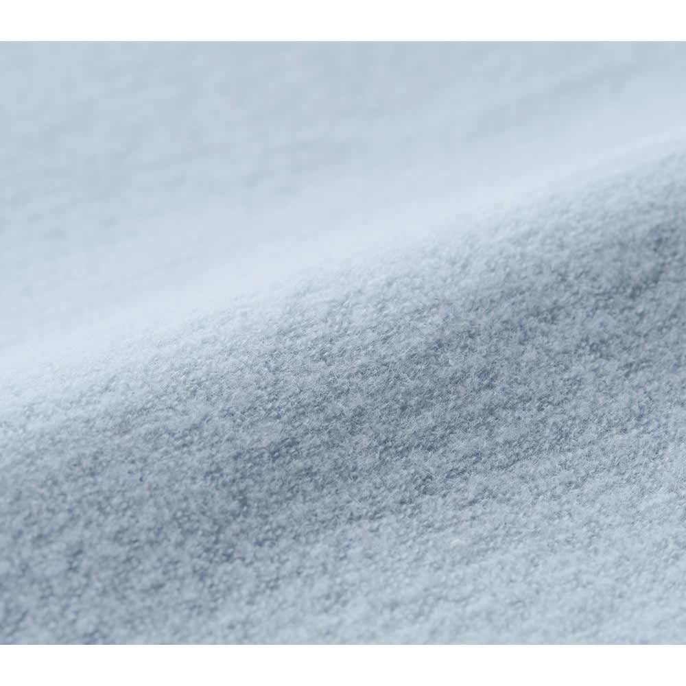 発熱するコットン「デオモイス」寝具シリーズ フランネルニットの敷きパッド (エ)ブルー 生地アップ ふんわり温かいフランネルニットの毛布地