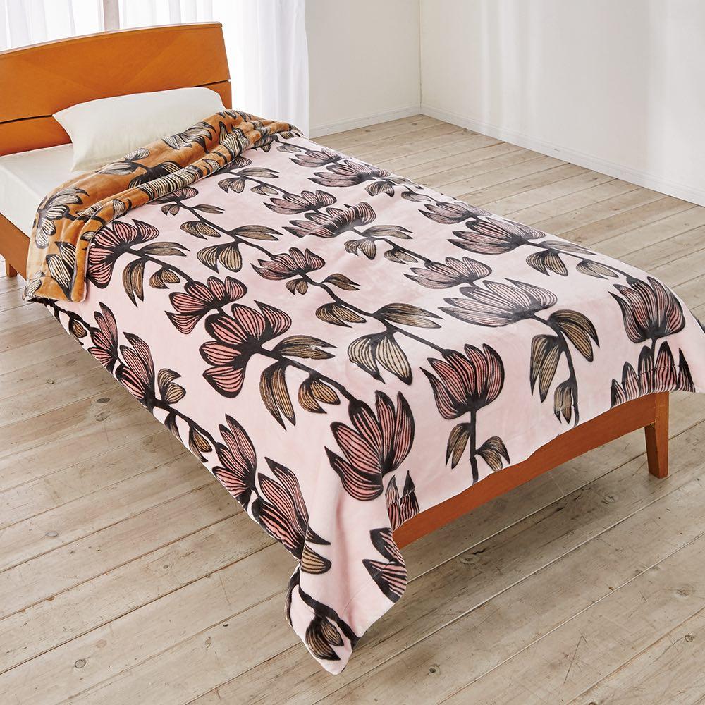 フィンレイソン アルマ リバーシブル毛布 (イ)ピンク シングルサイズ