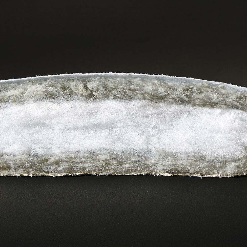 発熱するコットン「デオモイス」寝具シリーズ フランネルニットの掛け布団 3層構造になった断面カット