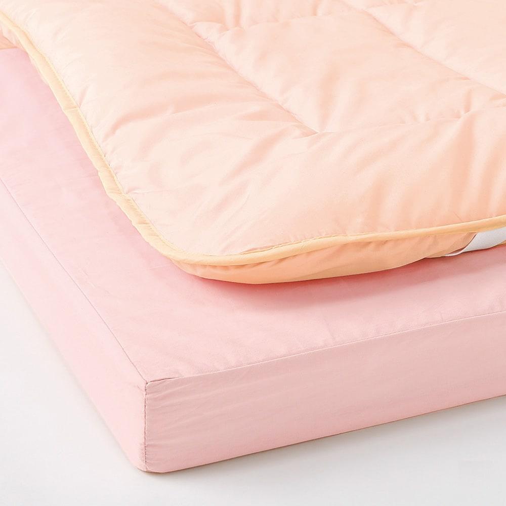 抗菌コンパクト&ワイド ファミリー布団 厚さ約13cmさらにボリュームタイプ(上層パッド+下層マットセット) (ア)ピンク