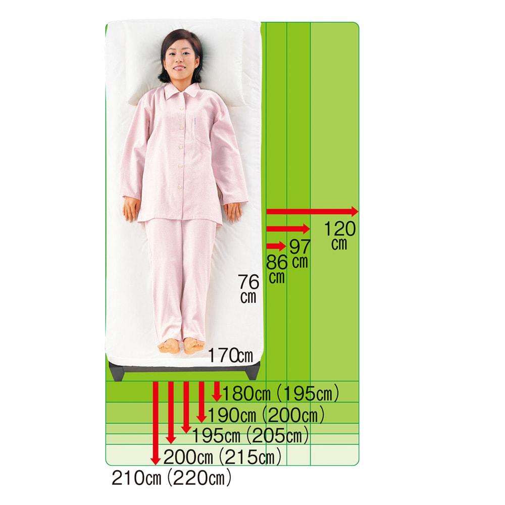 国産ボンネルマットレスベッド 長さ195cm(マットレス180cm) 24サイズバリエーション