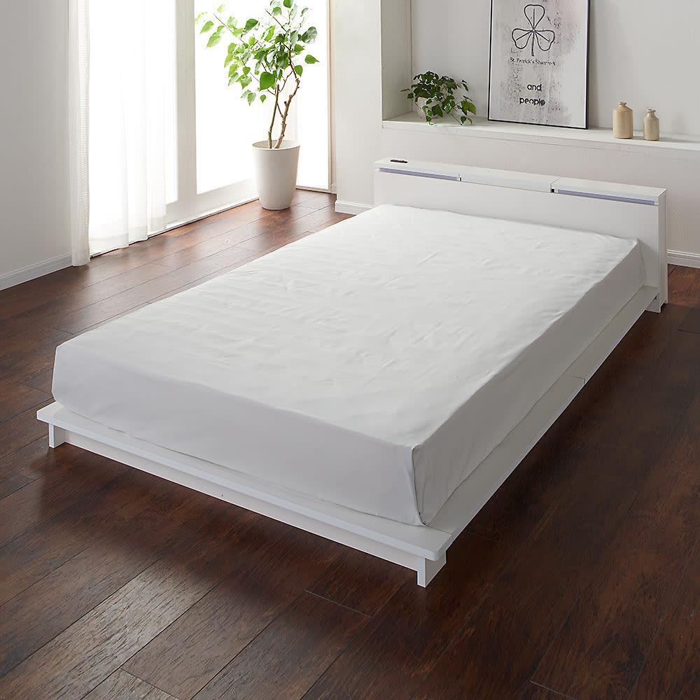 照明付きステージすのこベッド マットレス付き(国産ポケットコイルマットレス付き) (ア)ホワイト