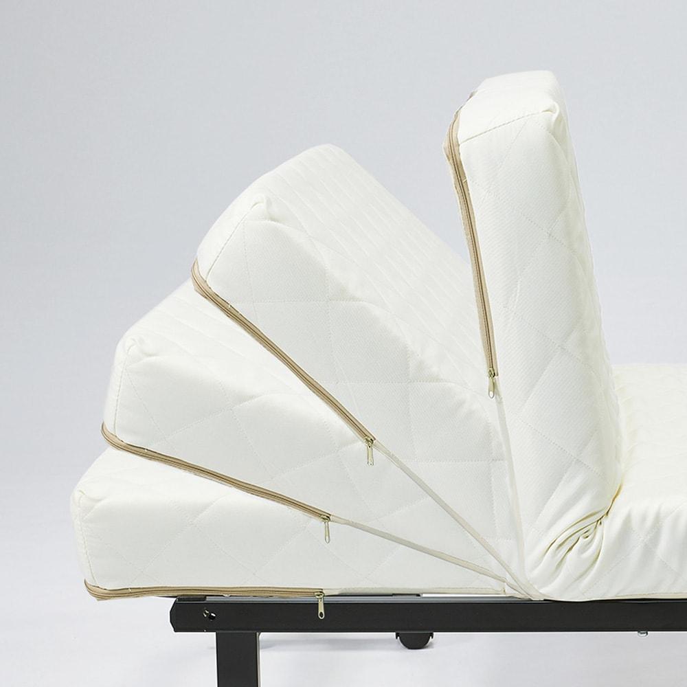 完成品折りたたみショートベッド(カバーなし/カバー付き) お好みの角度でどこでも止まります。(42段階)