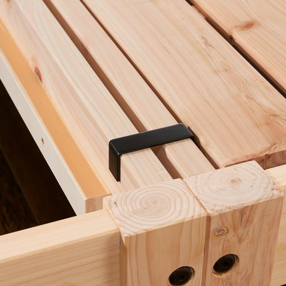 国産ひのき天然木すのこシングルベッド 棚あり お得な2点セット(フレームのみ) 2台使いの際は専用金具でしっかり連結。