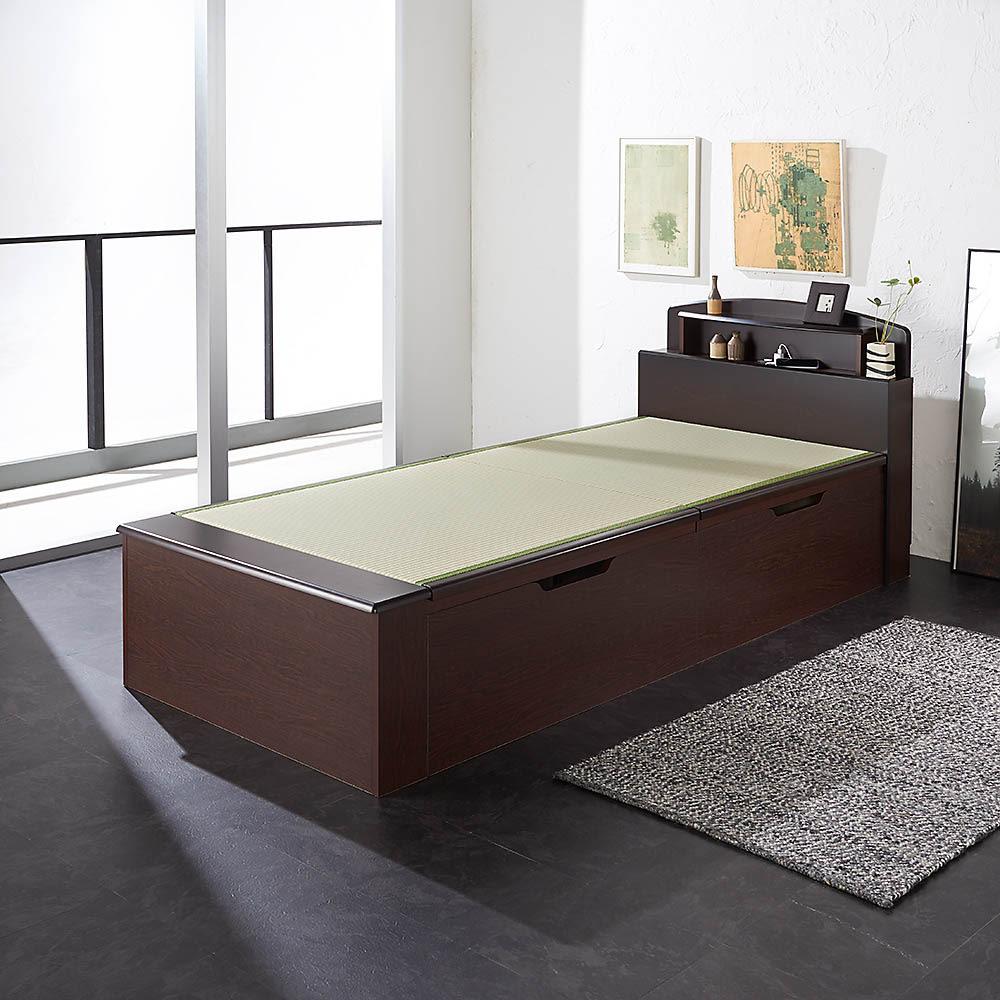 跳ね上げ式深型収納畳ベッド 棚ヘッド付き(高さ84cm) (使用イメージ)※写真はシングルロングです。