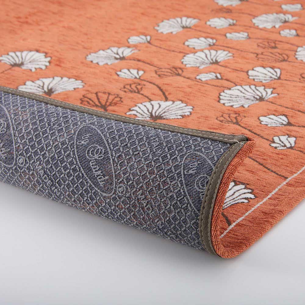 イタリア製ジャカード織りラグ〈カリーナ〉円形 裏面:滑りにくい加工