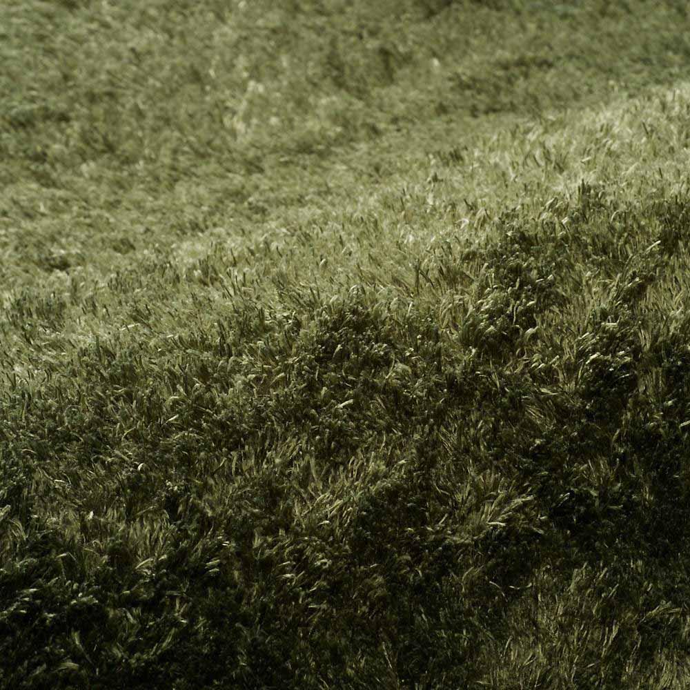 やわらかマイクロファイバーの多色シャギーラグ〈ラルジュ〉 ふっくらタイプ (ウ)グリーン