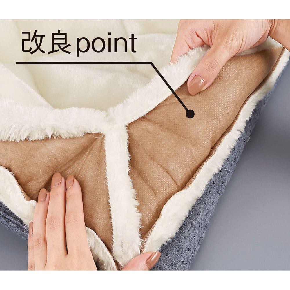 ゆめごこちラグ 洗い替え用カバー単品 カバー裏側を不織布でおおい、毛抜けが少なくなるよう改良しました。